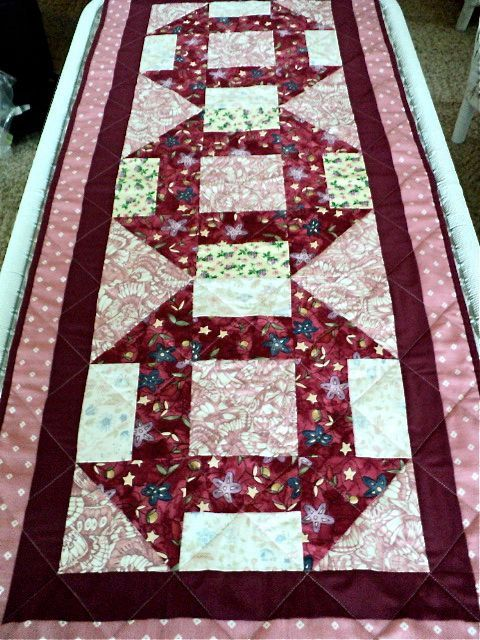 Quilted Tablerunner / Table Topper Maroon by DocksideDesigns, $41.50