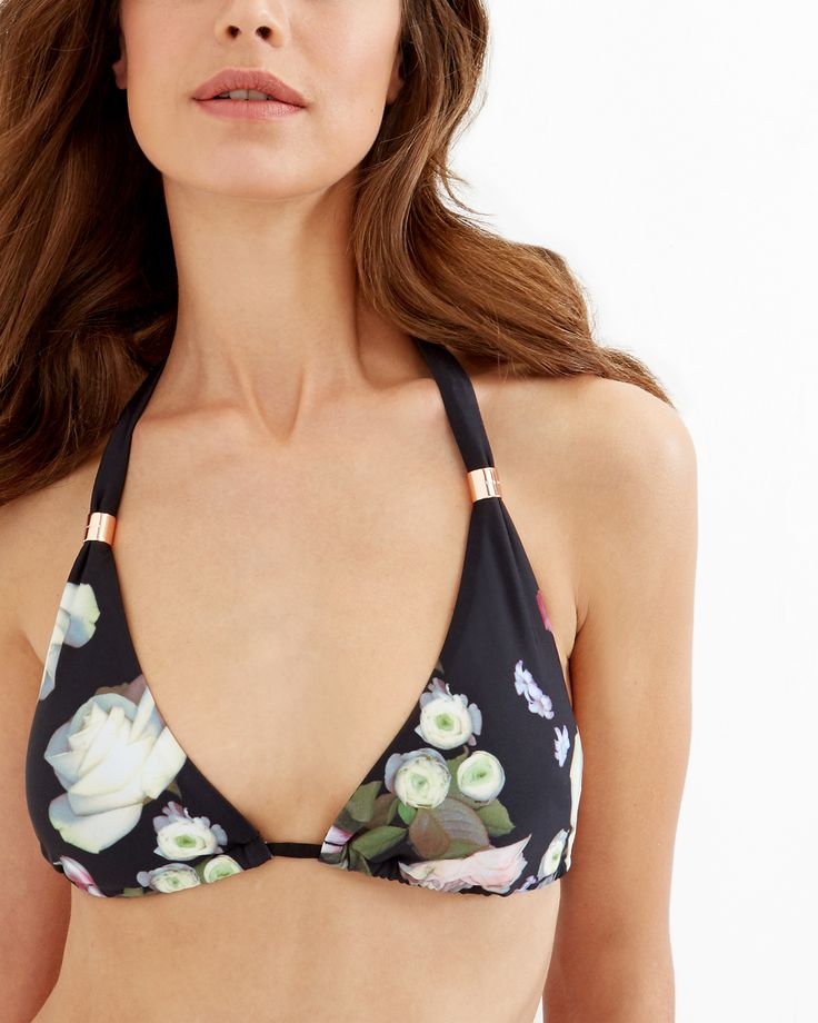 Ted Baker Kensington Floral triangle bikini top Black