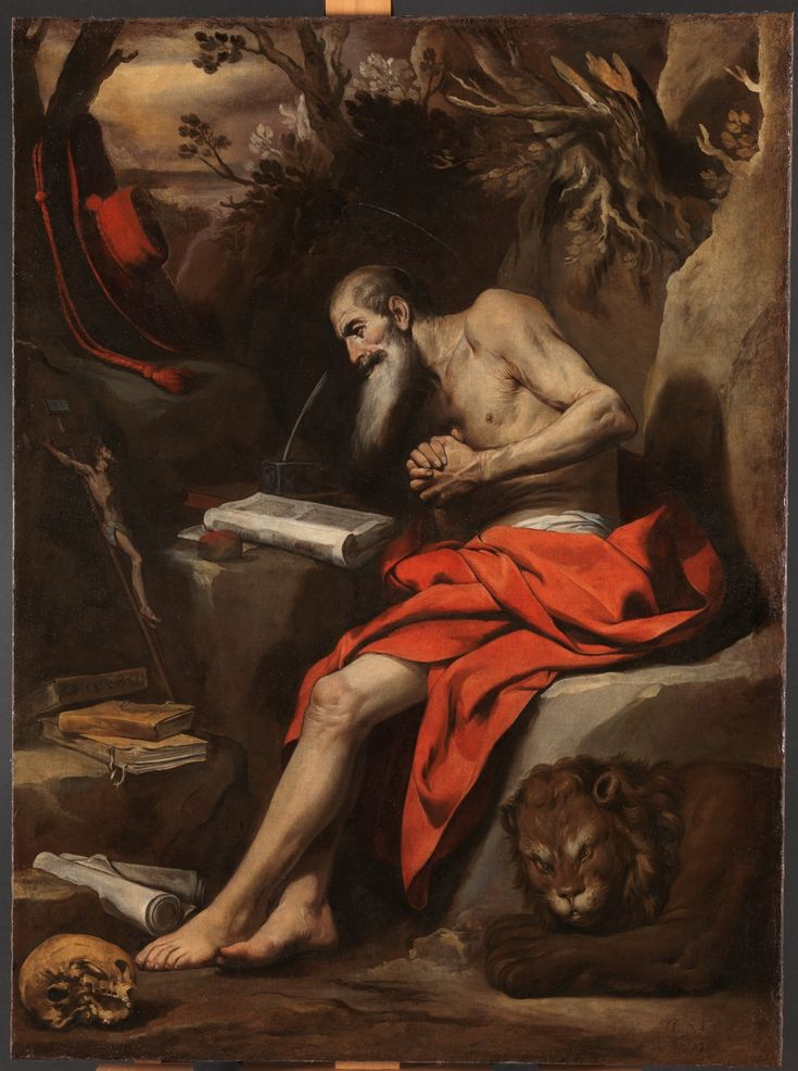 """""""You have treated your servant well, according to your word, O LORD. Teach me wisdom and knowledge, for in your commandments I trust."""" Psalm 119(118):65-66 // Saint Jerome / San Jerónimo // 1635 // Antonio del Castillo Saavedra"""