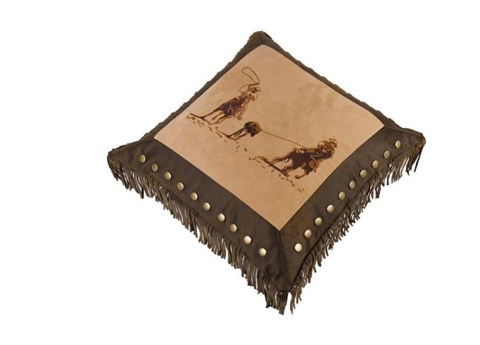 Accent Pillow Western Team Roping Horses Fringe Hiend Accents Decor Horse New #HiEndAccents #Western