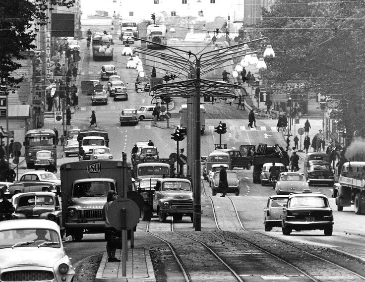 View towards Anninkaistenkatu (1962): foreshortened view down Uudenmaankatu on the cathedral side, with the bridge in the centre (I think).