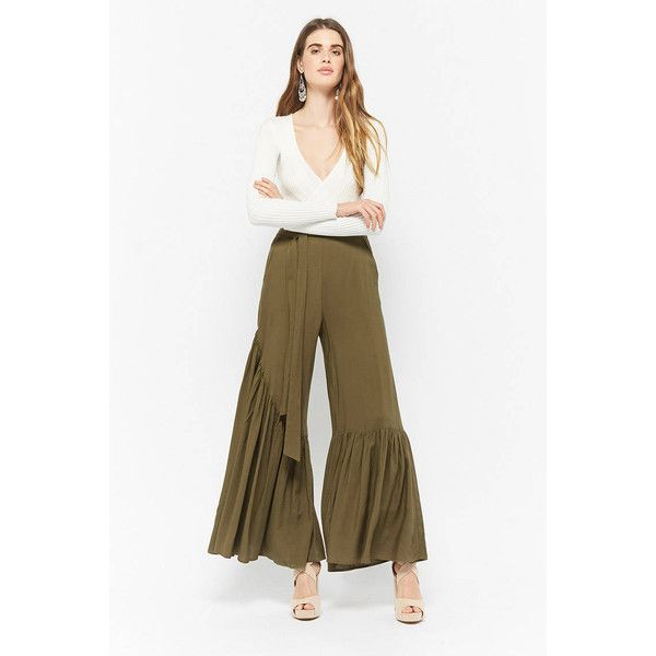 Forever21 Wide-Leg Flounce Hem Pants (38 NZD) ❤ liked on Polyvore featuring pants, olive, white trousers, army green pants, olive green pants, wide-leg trousers and military green pants