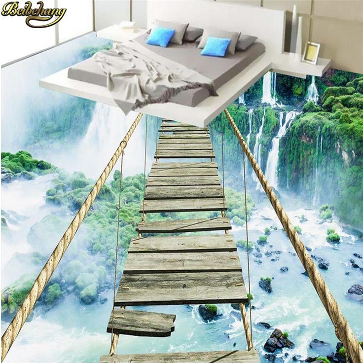 Beibehang Personnalisé Photo Papier Peint Sol Peintures Collant Paysage Cascade…