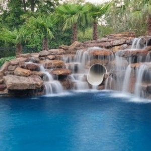 Swimming Pools With Waterfalls And Slide 1120 best swimming pool waterfall / slides images on pinterest