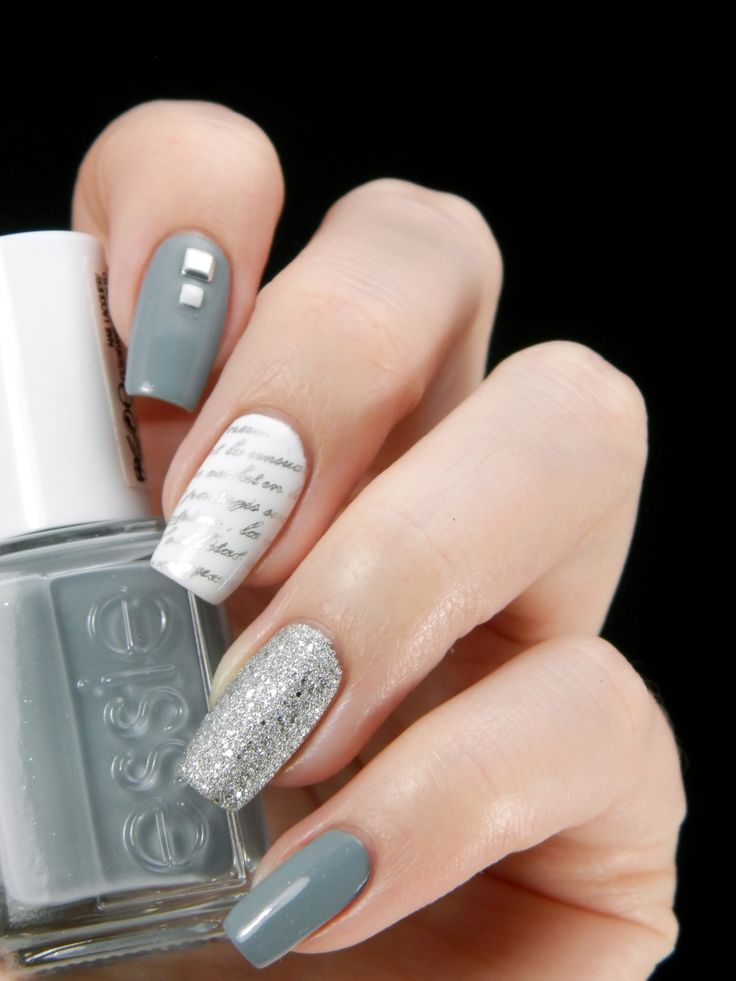 Quite the perfect winter accessory ~ base polishes are Essie 'Parka Perfect', Gina Tricot 'White' and Golden Rose 'Holiday 51' on ring finger ~ middle finger stamped with text image from MoYou plate Scholar Collection-02 in silver ~ by Better Nail Day
