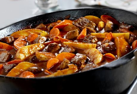 It takes just 15 minutes to put together the ingredients for this fabulous stew, that slowly simmers in a tomato juice-beef broth combination until the meat and vegetables practically melt in your mouth.