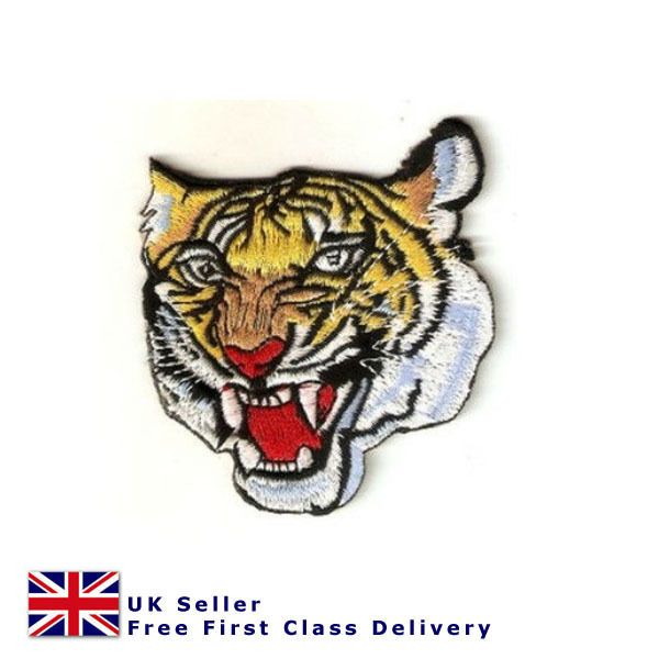 Tiger Head Iron/ Sew On Patch Transfer Motif Badge embroidered applique patch