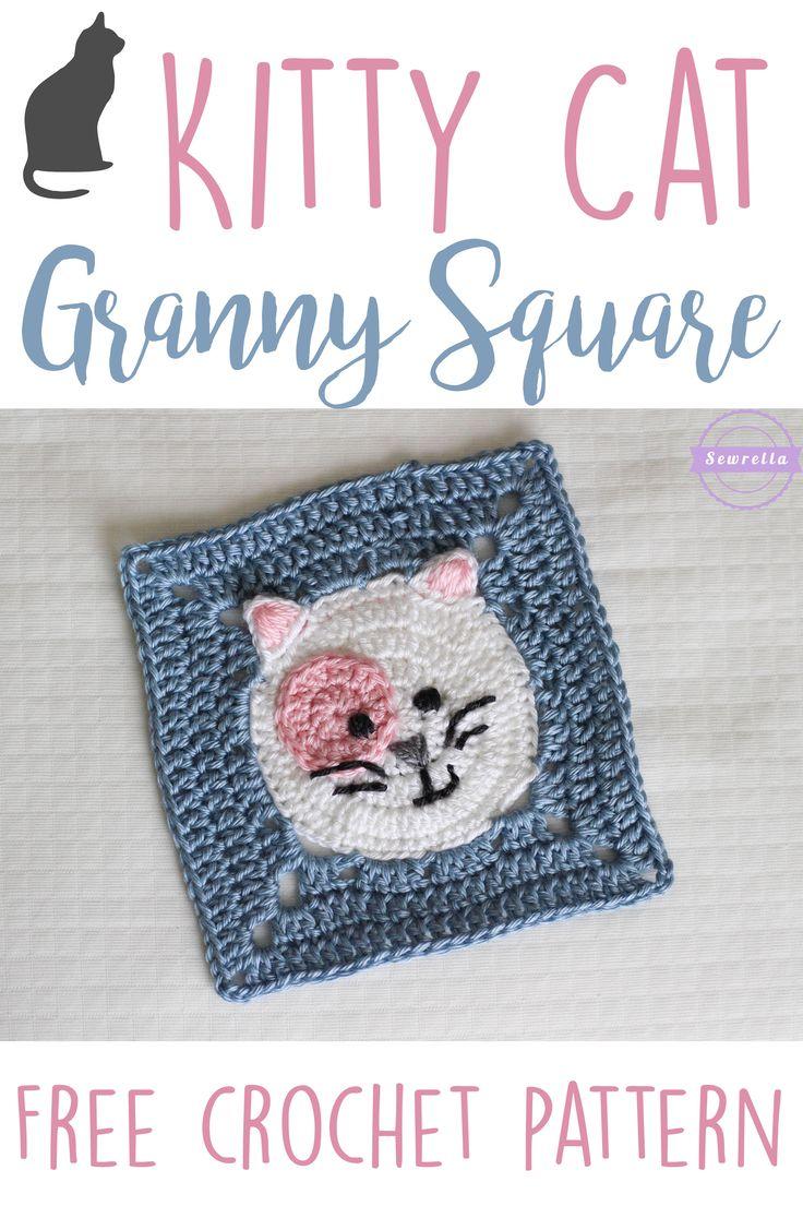Kitty Cat Crochet Granny Square | Virkning, Mormorsrutor