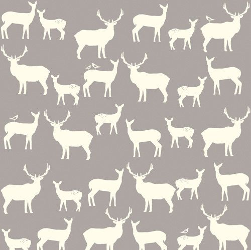 Birch Fabrics Elk Family Shroom Gray Grey Woodland Deer