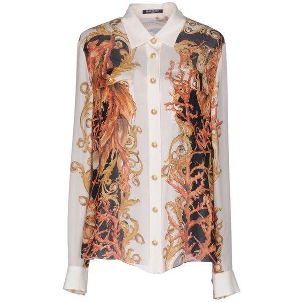 Balmain Shirt ($1,250) ❤ liked on Polyvore featuring tops, white, balmain shirt, extra long sleeve shirts, balmain top, long sleeve tops and balmain