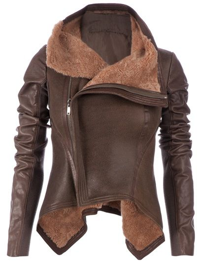 Brown lamb skin short jacket from Rick Owens featuring a funnel neck, a front concealed off-centre zip fastening, long sleeves, longer sides and a sheepskin lining.