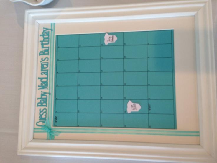 Guess baby's Due Date Calendar Baby Shower | Baby Shower | Pinterest ...