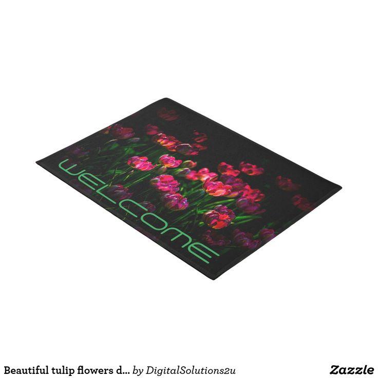 Beautiful tulip flowers dark doormat