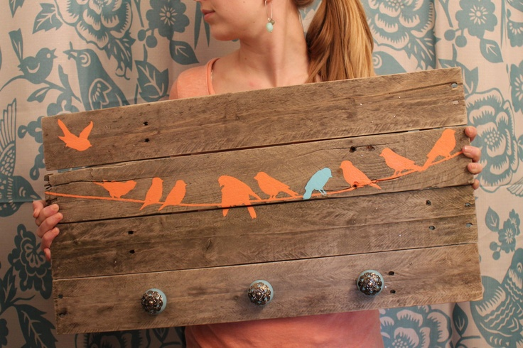 Reclaimed Wood Coat Rack Birds
