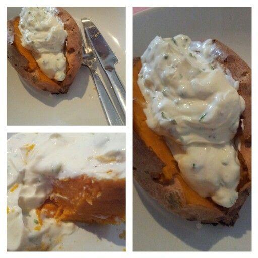 Ofen Süßkartoffel mit Ziegenkäsecreme