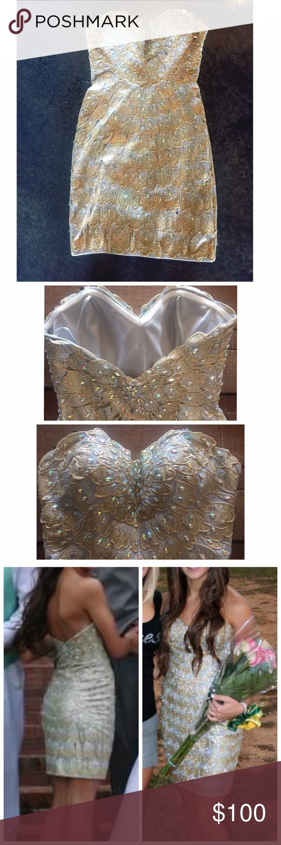 La femme gold prom dress Worn once la femme prom dress. Super sparkly the pictures don't even capture it. La Femme Dresses
