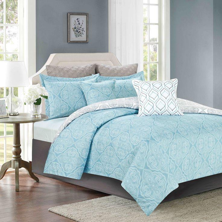Crest Home Acacia Bedding Comforter 7 Piece Queen Size Bed Set, Blue and White Quatrefoil Medallion Design