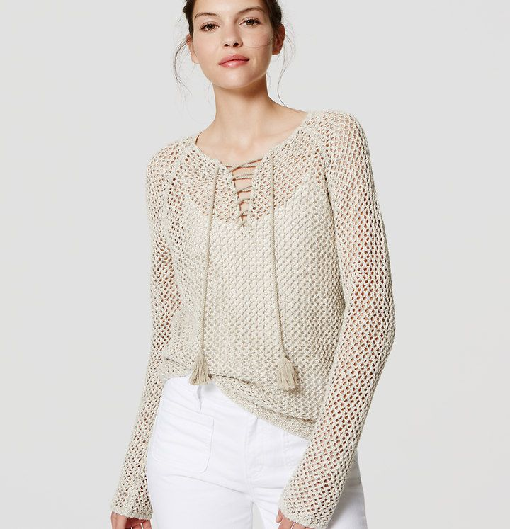 Lace Up Sweater | Loft