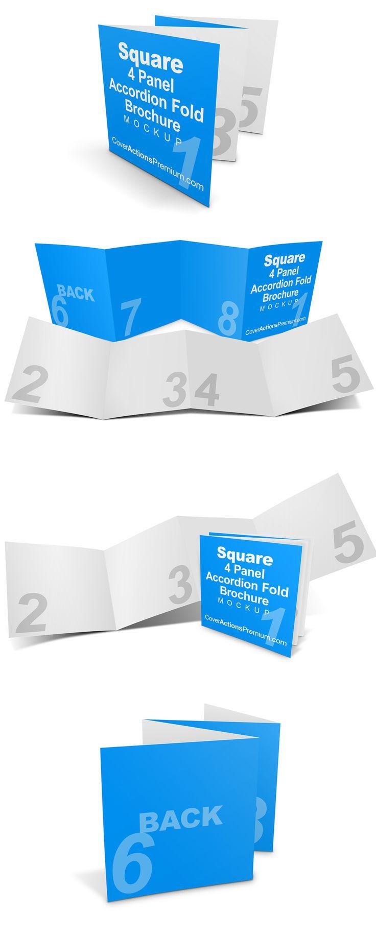 Square 4 Fold Brochure Mockup - Accordion