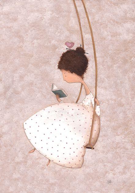 Se balancer tout en lisant / Swinging with reading / Columpiándose con la lectura. Illustration de Lucía Cobo