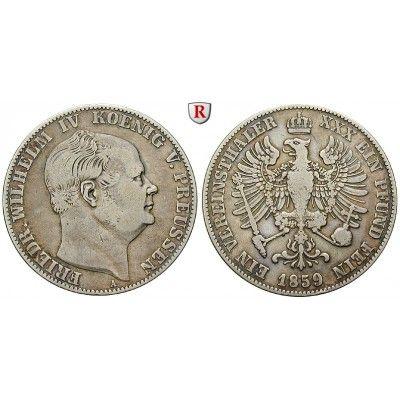 Brandenburg-Preussen, Königreich Preussen, Friedrich Wilhelm IV., Vereinstaler 1859, ss: Friedrich Wilhelm IV. 1840-1861.… #coins