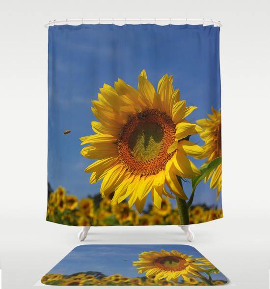 Sunflower shower curtain, bath mat | bathroom decor, nature inspired home decor, country home decor, rustic home decor, garden decor http://etsy.me/2Cdwn6e #bathroom #blue  #showercurtain #homedecor #sunflower #rustichomedecor #etsy #rvjamesdesigns