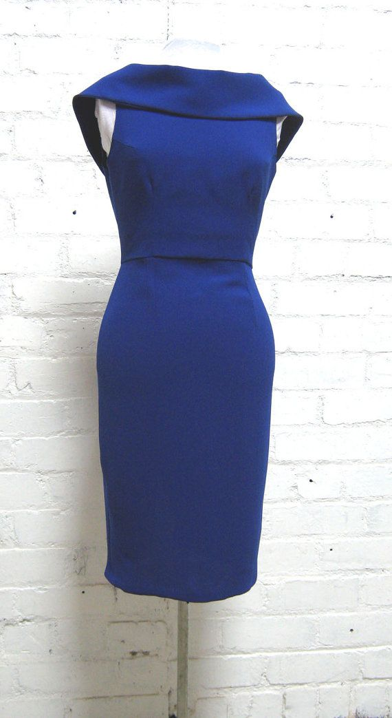 Royal blue 1950s style pencil dress marilyn by Thewardrobedoor1
