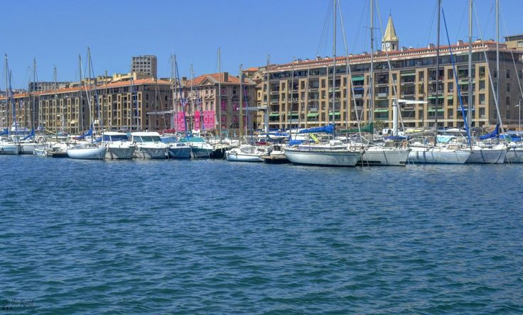 The blue waters of Marseille's Viuex Port.