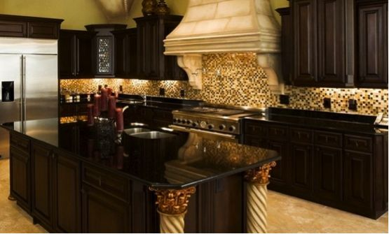 Love The Dark Granite Counters With The Dark Cabinets And Light Backsplash Kitchen Remodel