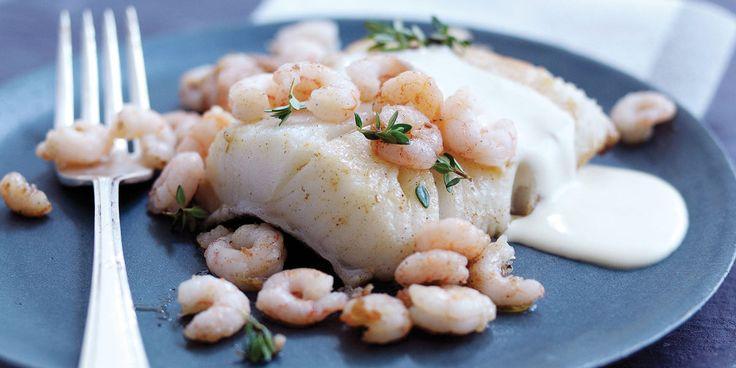 Flétan et crevettes au thym citronné, sauce crémeuse au parmesan