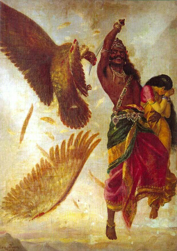 Seetha horrified seeing Ravana cutting Jatayu's wing.
