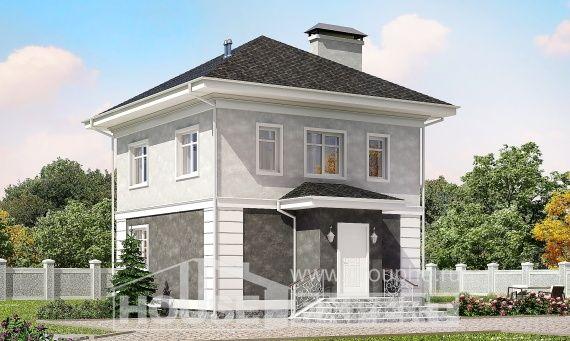090-003-П Проект двухэтажного дома, простой загородный дом из пеноблока