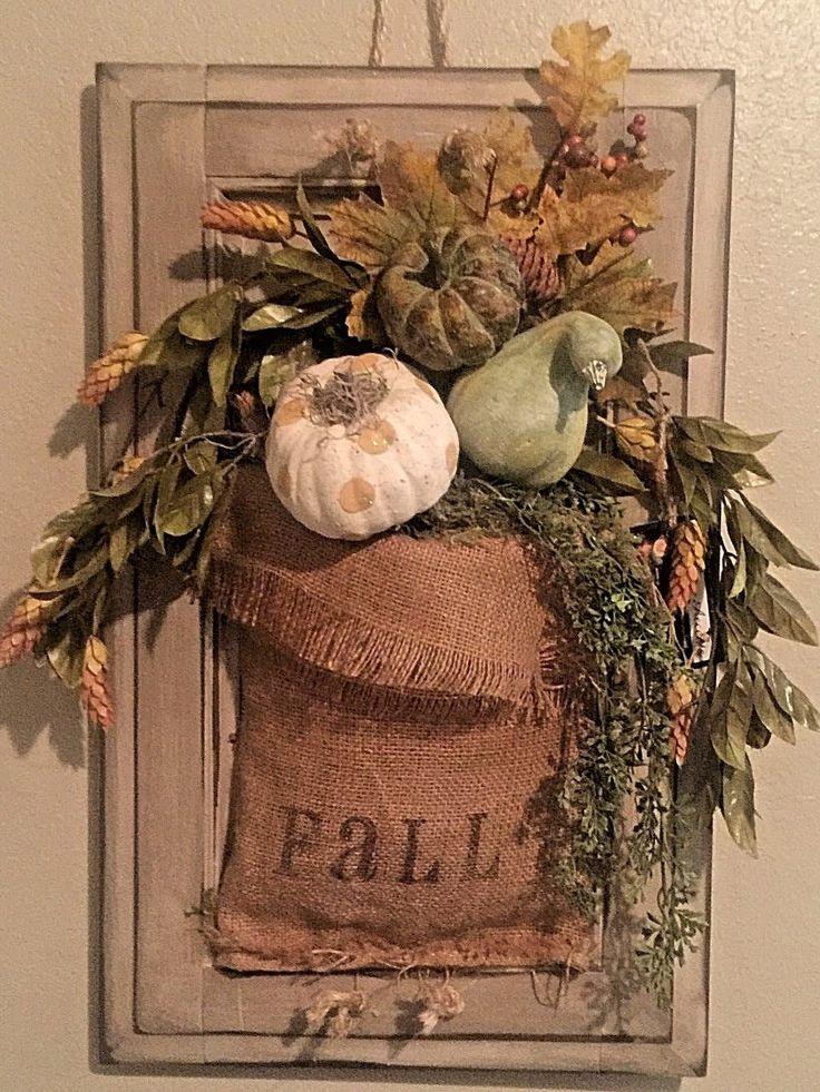 2016 front door fall hanging arrangement vintage What to hang on front door for decor
