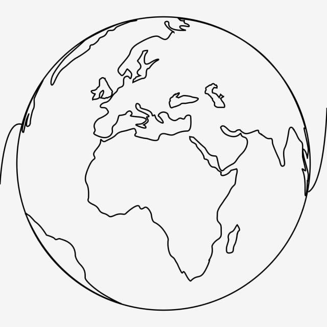 Earth Globe Line Art Continuous One Line Drawing Vector Minimalist Design World Clipart Eart Earth Png And Vector With Transparent Background For Free Downlo Line Art Drawings Outline Art Globe Drawing
