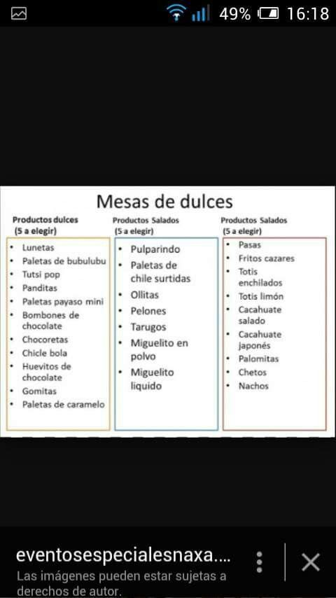 Mesa de dulces ideal