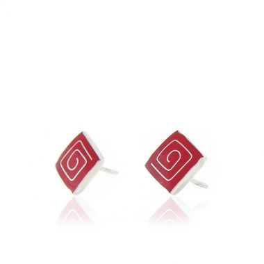 These sterling silver stud earrings feature square shaped intense red coral gemstones with Circle of Life 925 silver inlay. Symbol of the infinity of things in the universe and the cyclical nature of life in ancient Greek times, these handmade silver earrings will make a beautiful and versatile addition to your personal collection. The polished sterling silver makes an eye-catching and stylish contrast against the red coral gemstone, bound to attract attention.