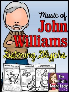 The Music of John Williams Listening Glyphs A glyph is a pictorial representation of data. These clever worksheets ask students to color each object or portion of the picture based on what they hear. These glyphs were designed for use with the music of John Williams and ask students to listen for 4-5 things in a piece.