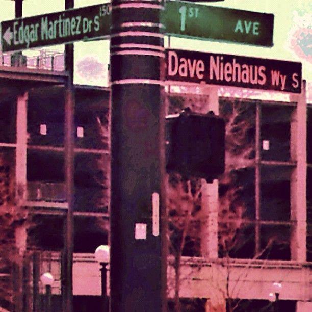 The corner of Edgar Martinez Drive and Dave Niehaus Way in Seattle.