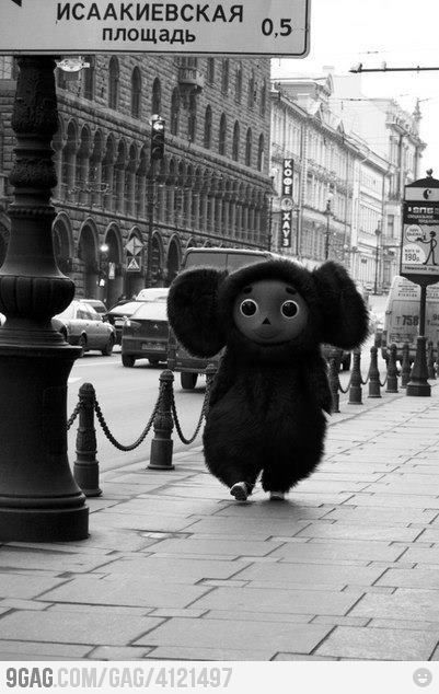 Meanwhile in the center of Russia. This is Cheburashka, the symbol of Russian sportsmen in Olympic Games during 2004, 2006, 2008