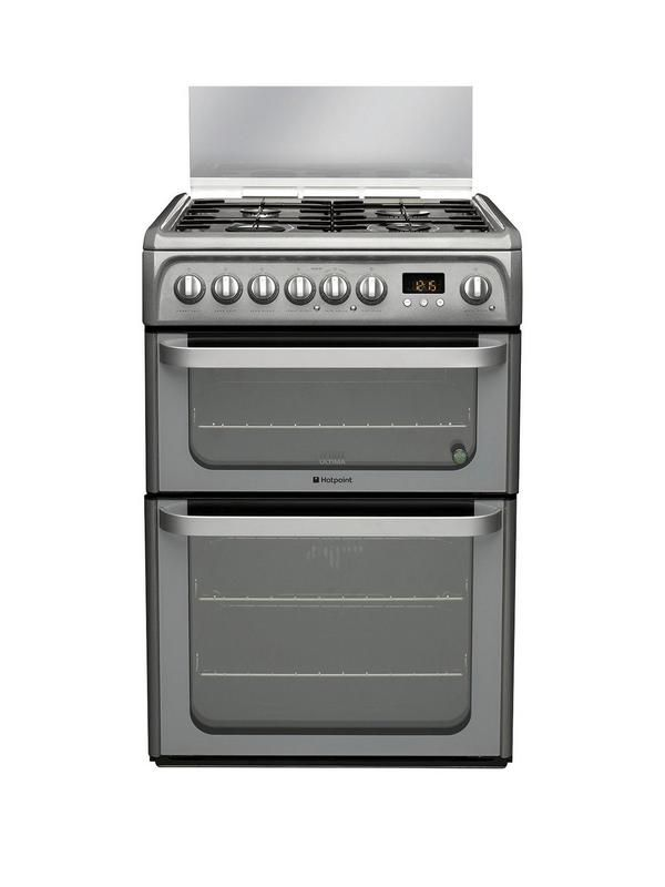 This Hotpoint HUD61GS Dual Fuel Cooker has a sleek graphite finish to add an instant contemporary look to your kitchenIt boasts 4 gas burners in 2 different sizes, with a handy glass lid for when you're not cooking up a storm. The handy Flame Safety Device also means that the gas cuts out if the flame is extinguished for added peace of mind.The main 65 litre electric oven has a fan-assisted design, ensuring the heat is evenly circulated for perfectly cooked dishes. It also has a Slow Cook…