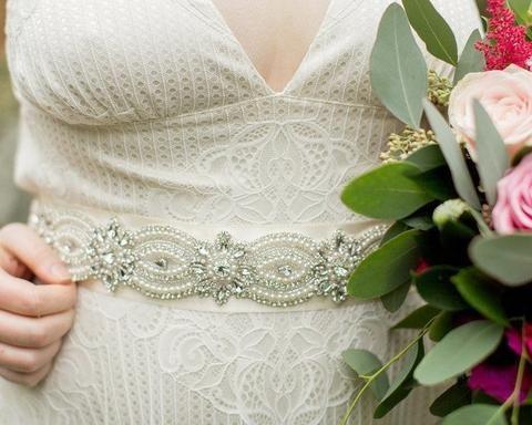 Birdcage Veils & Fascinators - Pearl & Rhinestone Beaded & Embellished Wedding Gown Belt, Sasha