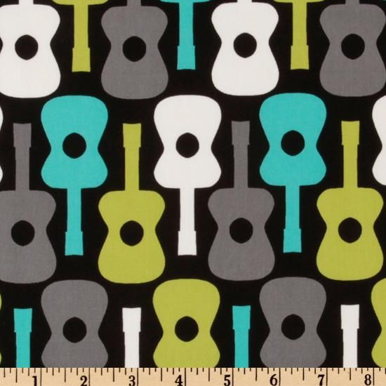 Michael Miller Groovy Guitars Lagoon from @fabricdotcom  Designed for Michael Miller Fabrics, this groovy cotton print fabric features guitars. Colors include turquoise, lime and grey on a black background. It is perfect for quilt and craft projects, apparel, and home decor accents.