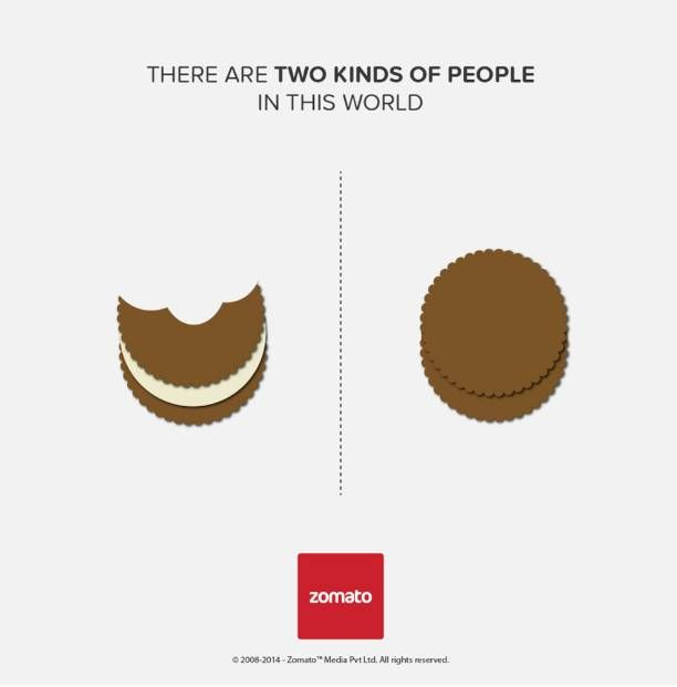 two kinds of people in this world - ad by Zomato - enjoying oraio cookies