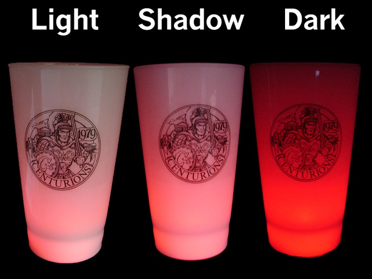 What your custom cups will look like - images of the cups in the light, in the shadows, and in a dark room.  These work GREAT for corporate events.