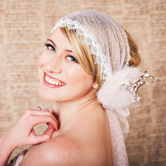 Polka Dot Tulle Lace Head Wrap Veil with by ChantillyLaceDesigns, $98.00