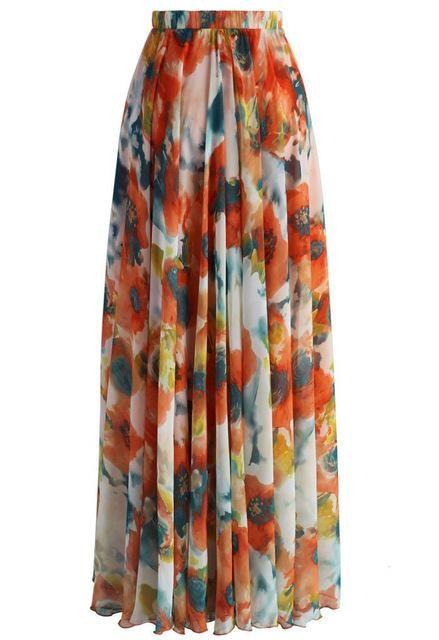 2017 New BOHO Women Summer Spring Fall Floral Chiffon Long Maxi Full Skirt Casual Beach Skirt
