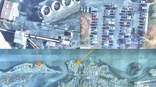 DARPA's new 1.8-gigapixel camera is a super high-resolution eye in the sky  By Brian Dodson  February 11, 2013 From an altitude of 20,000 ft, DARPA's newest aerial surveillance camera, ARGUS-IS, can keep a real-time video eye on an area 4.5 miles (7.2 km) across down to a resolution of about six inches (15 cm).