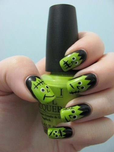 Halloween Frankenstein nails! I LOVE this