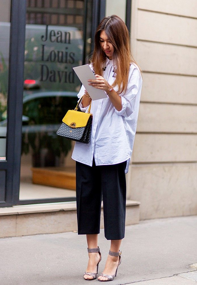 Oversized button-down shirt paired with culottes