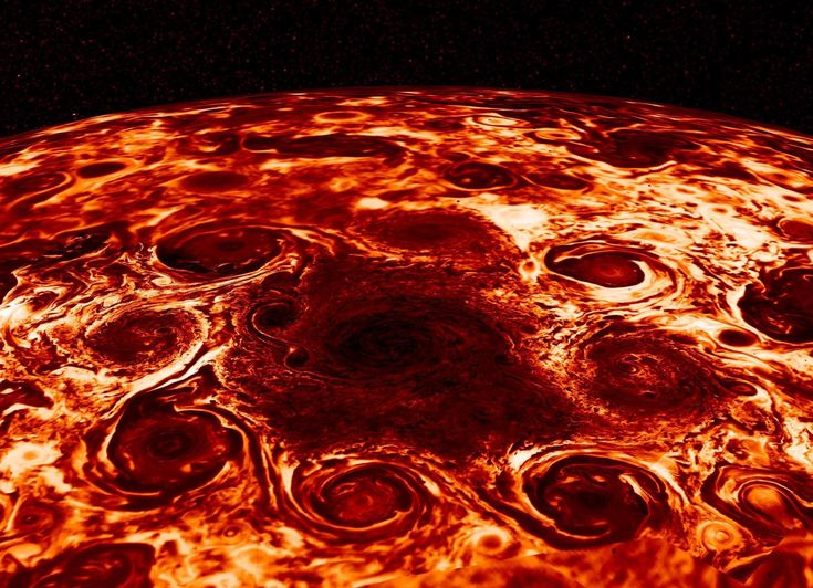 Jupiter is covered in intense, massive storms far more complex than anyone had expected, Nasa has revealed. The geometric clusters of cyclones that cover the planet's poles are just one of the various discoveries reported by scientists studying data sent back from Nasa's Juno spacecraft, which is circling the planet. The team has seen the cyclones churning in Jupiter's deep atmosphere in far greater detail than ever before